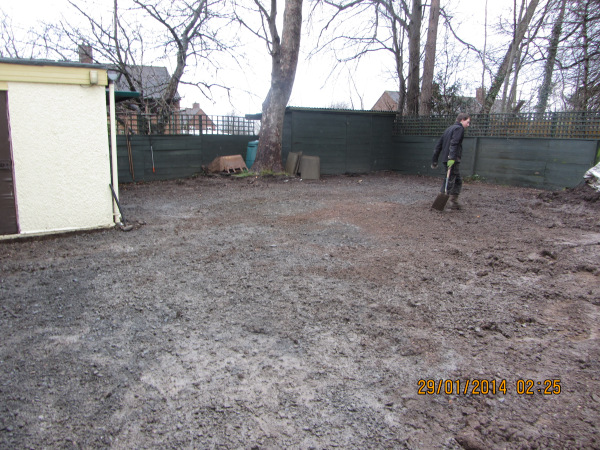 Driveway and garden ready for the new design