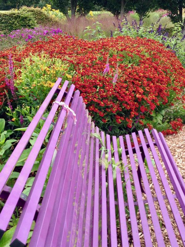 colourful seat in garden